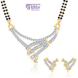 Sukkhi Bewitching Cz Gold And Rhodium Plated Mangalsutra Set