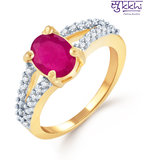Sukkhi Splendid Gold And Rhodium Plated Ruby Cz Ring