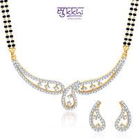 Sukkhi Resplendent Cz Gold And Rhodium Plated Mangalsutra Set