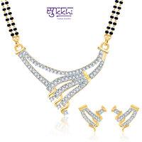 Sukkhi Bewitching Cz Gold And Rhodium Plated Mangalsutra Set