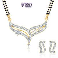 Sukkhi Classy Cz Gold And Rhodium Plated Mangalsutra Set