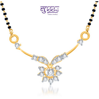 Sukkhi Gracefull Cz Gold And Rhodium Plated Mangalsutra Pendant available at ShopClues for Rs.123