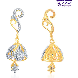 Sukkhi Modern Gold And Rhodium Plated Cz Earring