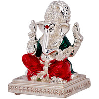 Silver Plated Ganesh Idol In Red & Green Combination