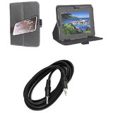 7 Inch Leather Flip Tab Cover For Aakash Ubislate 7 With Free Aux Cable