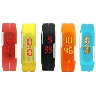 star Pack of 5 Led Digital Watch - For Boys Men Girls Women