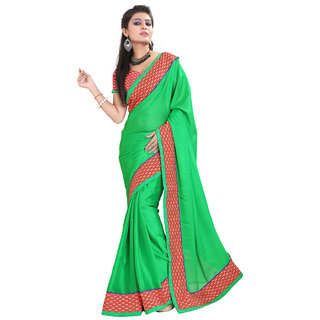 Sareeka Sarees  Green Satin Saree With Blouse Piece