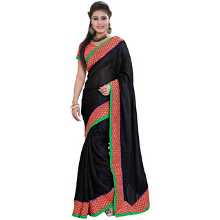 Sareeka Sarees Black Satin Saree With Blouse Piece