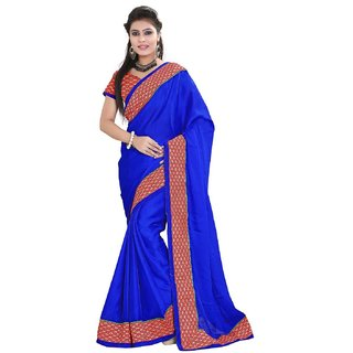 Sareeka Sarees Blue Satin Saree With Blouse Piece