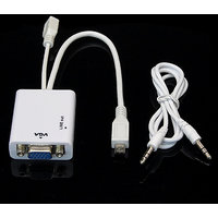 Micro USB MHL To VGA Adapter 3.5mm Audio Cable For Galaxy Note 3 III N9000