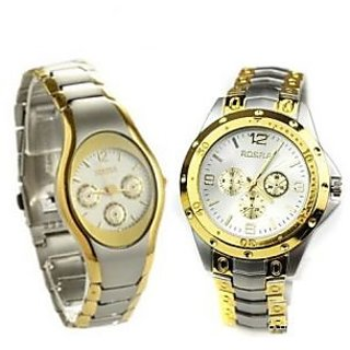 ROSRA Couple WATCHES COMBO GOLDEN BY 7star