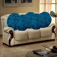 Sweet Home Pack Of 5 Round Design Tissue Cushion Cover - Blue