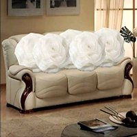 Sweet Home Pack Of 5 Round Design Tissue Cushion Cover - White