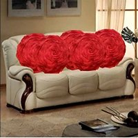 Sweet Home Pack Of 5 Round Design Tissue Cushion Cover - Red