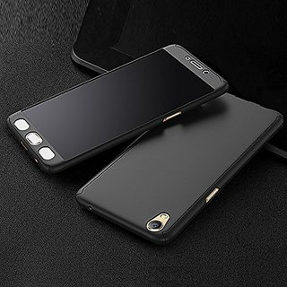 Mobi Case- Full Body Protection 360 Degree ipaky Hybrid Front+Back Case Cover  Tempered Glass For OPPO A37 A37F -BLACK