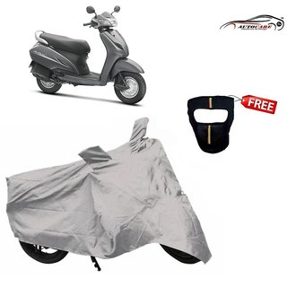 De AutoCare Premium Silver Matty Two Wheeler Scooty Body Cover For Honda Activa With Freebie Face Mask