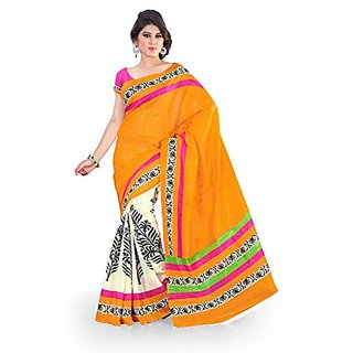 Royal Fashion Orange Casual Wear Printed Saree Whith Blouse Piece