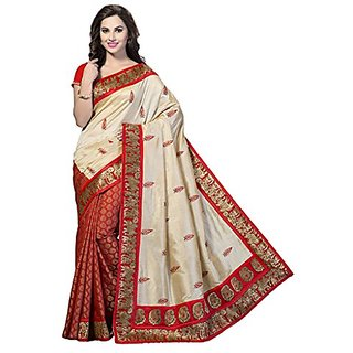 Royal Fashion Red Color Bhagalpuri Silk Printed Designer Saree With Blouse Piece