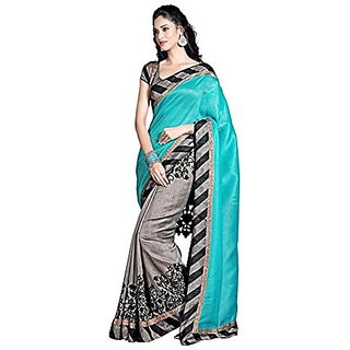Royal Fashion Rama Casual Wear Printed Saree Whith Blouse Piece