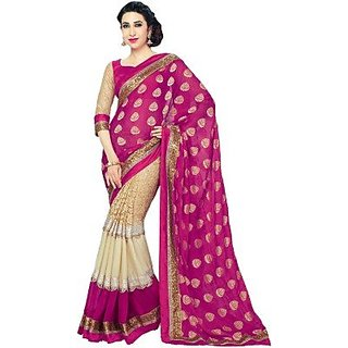 Royal Fashion Pink Color Bhagalpuri Silk Printed Designer Saree With Blouse Piece