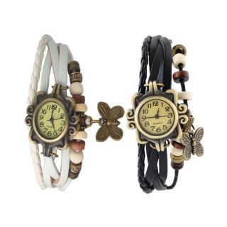 Pack Of 2 White  Black Vintage Leather Bracelet Butterfly Leather Watch - Pa