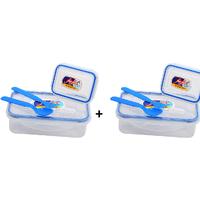 Set Of 2 (4 Way Lock And Seal Airtight Lunch Box)