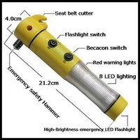 5 In 1 Car Led Flashlight Alarm Emergency Hammer Safety Belt Cutter