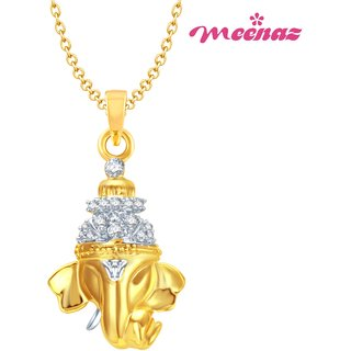 MEENAZ GAJMUKH GOLD & RHODIUM PLATED CZ GOD PENDANT  GP105