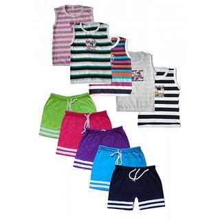 Jisha Fashion Cotton Multicolour SLBER Boys Slevless Tshirt + Bermuda Set ( Pack of 5 )