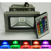 10 W Watt Watts Led RGB Waterpoof Flood Light With Remote Controller