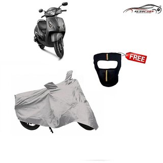 De AutoCare Premium Silver Matty Two Wheeler Scooty Body Cover For TVS Jupiter With Freebie Face Mask