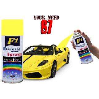 F1 AEROSOL SPRAY PAINT YELLOW FOR MULTIPURPOSE(CAR,BIKE,CYCLE,ETC.,)
