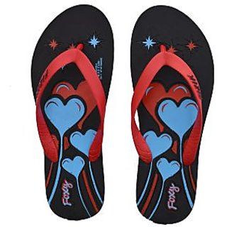 Foxy Mango-2 Black & Red Women's Flip Flops