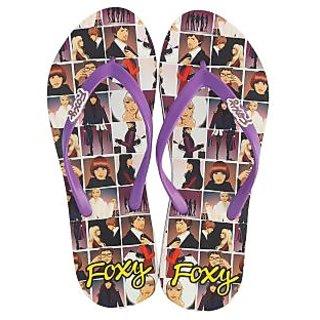 Foxy Tango-1 White Purple Women's Flip Flops