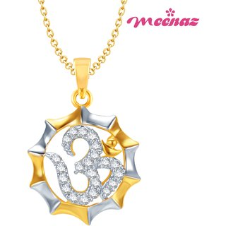 MEENAZ SWEET AUM GOLD AND RHODIUM PLATED CZ GOD PENDANT GP107