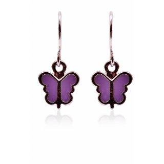 Trendy Baubles Purple Enamel Butterfly Metal Drop Earrings