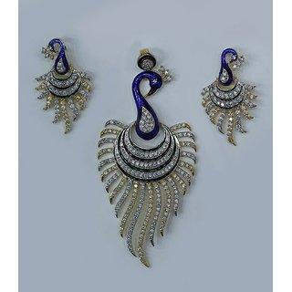 Beautiful AD Peacock Pendant Set By Jaipur Trendz