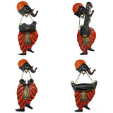 Craftter Ganesh Musician-Set Of 4 - Wall Hanging