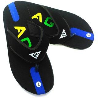 Lalso Stylish Black Men's Slippers / Flip Flops For Rainy Season - MRS01_BK