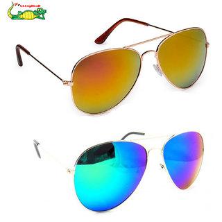 Elligator Multicolour Mirrored Unisex Sunglasses Combo