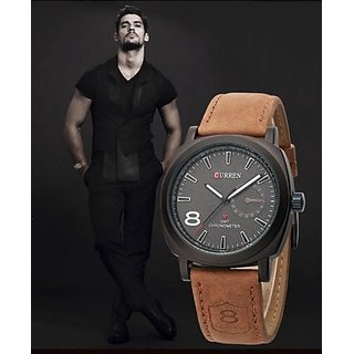 Curren Mens Watch with leather hand strap By sports