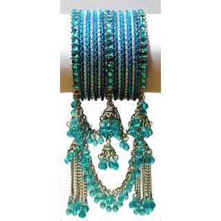 Indian Imitation Jumka Bangles (CB-28B) Turquoise
