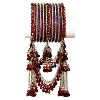 Maroon Non Plated Bangles For Women
