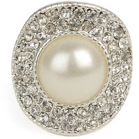 White and Silver Ring with Zinc Alloy - TPRI12- 302