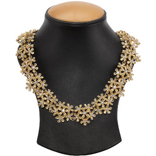 Golden Alloy Gold Plated Necklace Set For Women