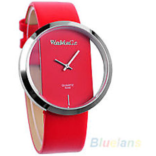Women's PU Leather Transparent Dial Lady Wrist Watch