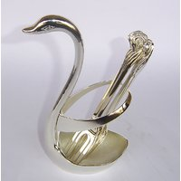Metal Silver Plated Swan Shape Six Folk Holder Small