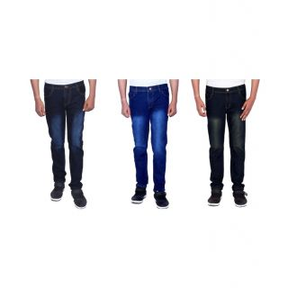 Red Code Pack Of 3 Slim Fit Jeans For Mens