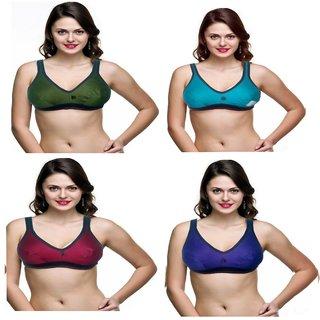 Women Hosiery Sports Bra pack of 4