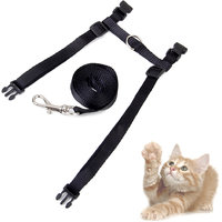 Magideal Black Adjustable Pet Cat Kitten Belt Nylon Collar Leash Harness Safety Strap Traction Rope